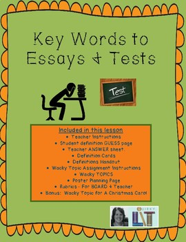 Key Words to Essays & Tests