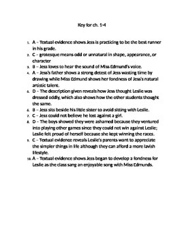 Key for ch. 1-4 of Bridge to Terabithia
