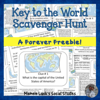 Key to the World Scavenger Hunt of Fun Geography Facts - Task Cards