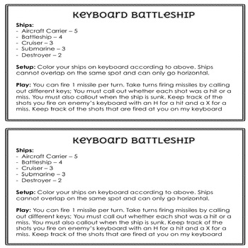 Keyboard Battleship Game By Thweatthearts Teachers Pay Teachers