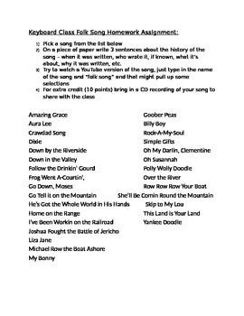 Keyboard Class Folk Song Research Assignment