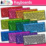 Keyboard Clip Art {Rainbow Glitter Computers for Classroom