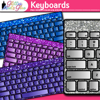 Keyboard Clip Art {Rainbow Glitter Computers for Classroom Technology Use}