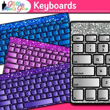 Keyboard Clip Art   Rainbow Glitter Computers for Classroom Technology Use