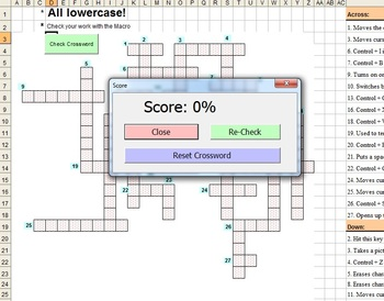 Keyboard Keys Crossword for Microsoft Word and PC - Self Grading!