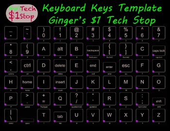 Keyboard Keys Template * Individual Keys * Wall Display * Transparent Background