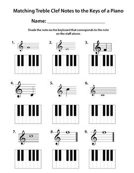 Keyboard Matching Note Names Worksheet
