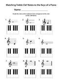 Keyboard Matching Note Names Worksheet