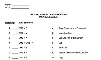 Keyboard Short-cuts Quiz