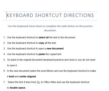 Keyboard Shortcut Practice Activity
