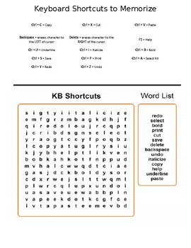 Keyboard Shortcuts Word Search