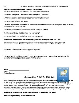 Keyboarding- A Skill for Life! DVD-  Questions While Viewing with Answer Key