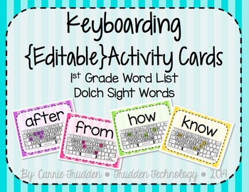 Keyboarding Activity Cards using Dolch 1st Grade Word List