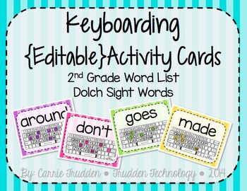 Keyboarding Activity Cards using Dolch 2nd Grade Word List
