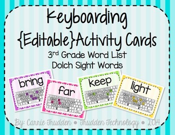 Keyboarding Activity Cards using Dolch 3rd Grade Word List {Editable}