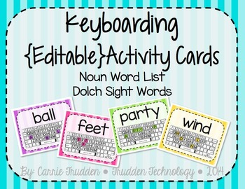 Keyboarding Activity Cards using Dolch Noun Word List {Editable}