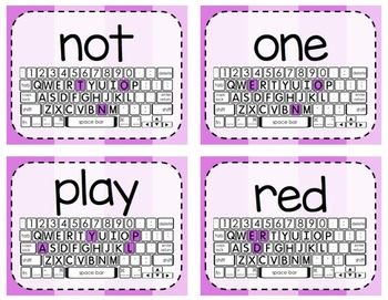 Keyboarding Activity Cards using Dolch Pre-Primer Word List {Editable}