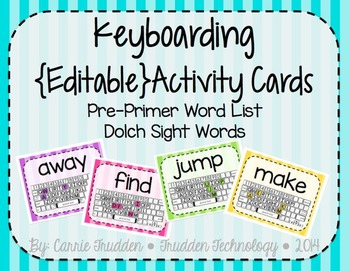 Keyboarding Activity Cards using Dolch Pre-Primer Word Lis