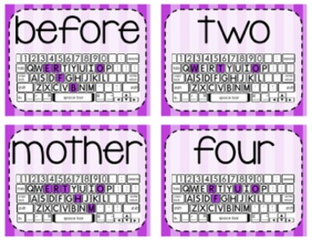 Keyboarding Activity Cards using F&P 100 High Frequency Words {Editable}