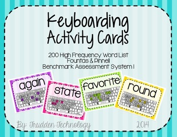 Keyboarding Activity Cards using F&P 200 High Frequency Words {Editable}