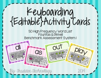Keyboarding Activity Cards using F&P 50 High Frequency Words {Editable}