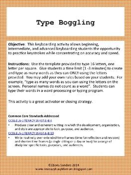 Keyboarding Activity Grades 6-8