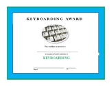 Keyboarding Award Cerificate