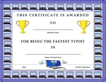 Keyboarding- Award Certificate- Fastest Typist