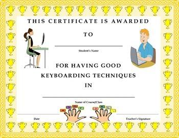 Keyboarding- Award Certificate- Good Keyboarding Techniques