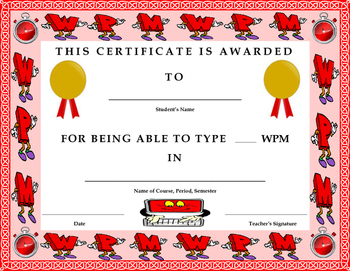 Keyboarding- Award Certificate- Words Per Minute (WPM) Ach
