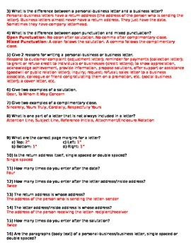 Keyboarding- Block Letter (Business/Personal) Test- 2 Versions with Answer Keys
