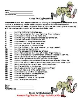 Keyboarding- Clues for Keyboarding- Memorizing the Keys Activity/Game