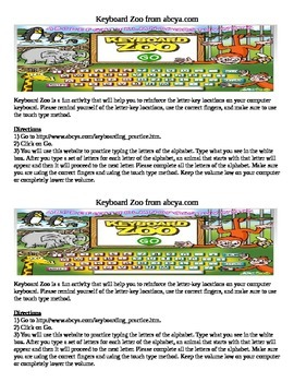 Keyboarding- Direction Sheet for Keyboard Zoo (Online Game