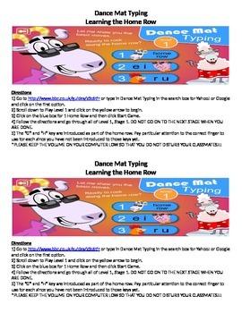 Keyboarding- Direction Sheet for Dance Mat Typing (Online Kids Typing Website)