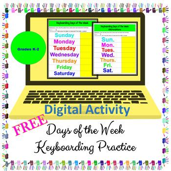 Keyboarding FREE - Days of the Week - Digital Activity