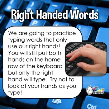Keyboarding Practice - Right Hand, Left Hand and Home Row Words