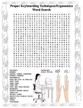 Keyboarding- Proper Keyboarding Techniques-Ergonomics Word Search- 20 Words