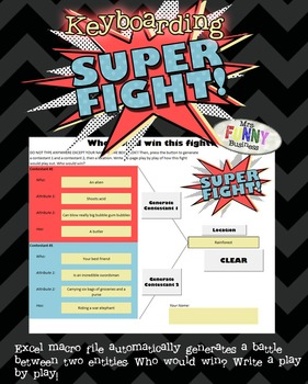 Keyboarding SuperFight Creative Writing Game