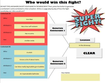 SuperFight Icebreaker Creative Writing or Keyboarding Game