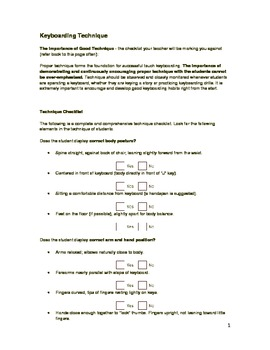 Keyboarding Techniques Checklist and Poster Combo