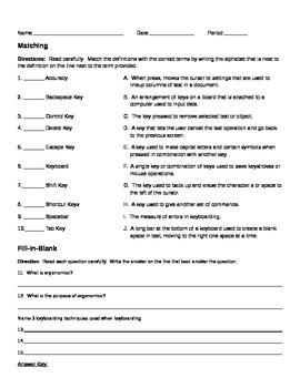 Keyboarding Terminology Quiz