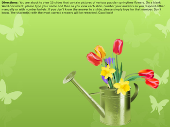 Keyboarding-Typing Games- Spring Into Spring- Name That Springtime Flower!
