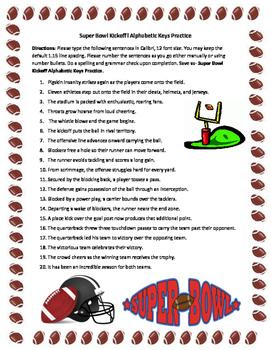 Keyboarding- Typing Games- Super Bowl Kickoff Alphabetic Keys Practice