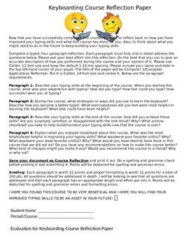 Keyboarding-Typing- Keyboarding Course Reflection Paper w/ Evaluation Sheet