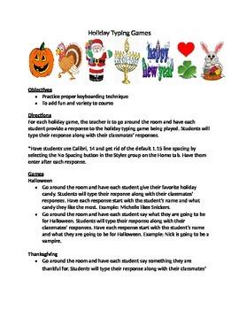 Keyboarding- Typing- Typing Games- Holiday Typing Games
