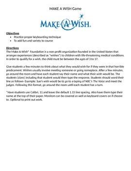 Keyboarding-Typing- Typing Games- Make a Wish Game