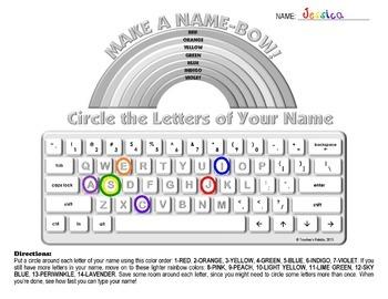 """Keyboarding Worksheet A (""""Make a Name-Bow"""")"""