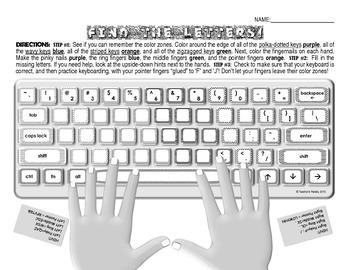 """Keyboarding Worksheet D (""""Find The Letters"""")"""