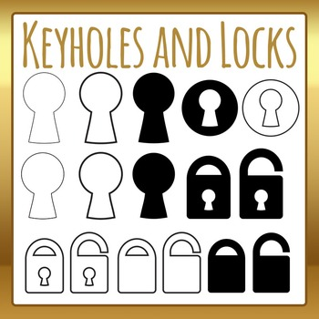 Keyholes and Locks Icons or Outlines Clip Art Set for Commercial Use