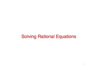 Keynote for rational equations and functions